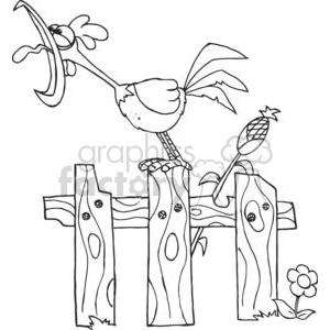 Mascot Cartoon Character A Cock Crowing Stepped On The Fence clipart. Commercial use image # 379463