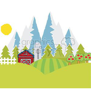 Mountain Farm clipart. Commercial use image # 379473