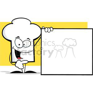 Cartoon Chefs Hat Character Presenting A Blank Sign clipart. Royalty-free image # 379478