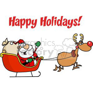 Holiday Greetings With Santa Claus clipart. Commercial use image # 379488