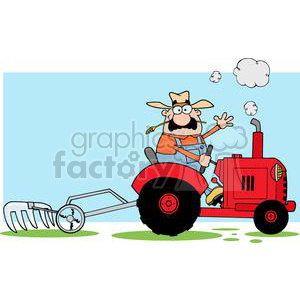 Happy Farmer Driving A Red Tractor clipart. Commercial use image # 379493