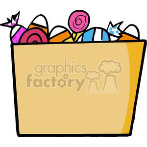 Cartoon Halloween Bucket Of Candy clipart. Commercial use image # 379513