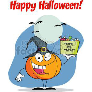 Happy Holidays Greeting With Pumpkin holds bucket of candy clipart. Royalty-free image # 379518