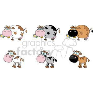 Cartoon Characters Cows And Calf Different Color Set clipart. Commercial use image # 379523