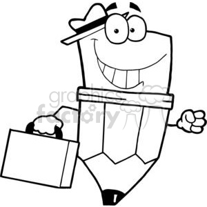 Pencil Cartoon Character Carrying A Briefcase clipart. Commercial use image # 379528