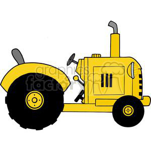 Vintage Yellow Farm Tractor clipart. Royalty-free image # 379533