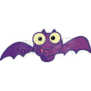 Royalty Free Purple Cartoon Bat Vector Clip Art Image