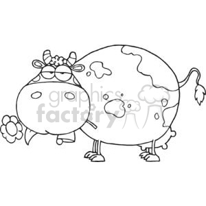 Black and White Spotted Cow with a Flower in its mouth clipart. Commercial use image # 379543