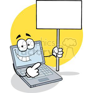 Laptop Cartoon Character Holding A Blank White Sign