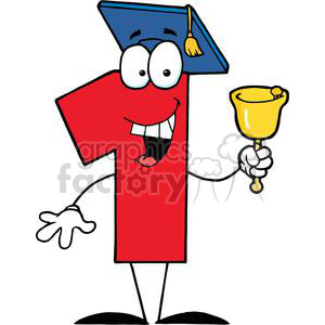 Number One Ringing A Bell And Graduate Cap clipart. Royalty-free image # 379563