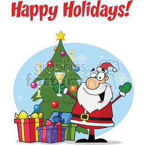 Holiday Greetings With Santa Claus clipart. Royalty-free image # 379573