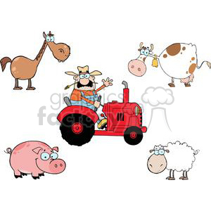 Farm Animals Cartoon Characters Set clipart. Commercial use image # 379578