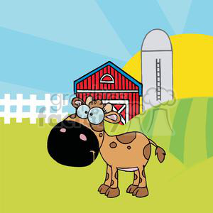 Cartoon Character Calf Different Color Brown In Front Of Country Farm