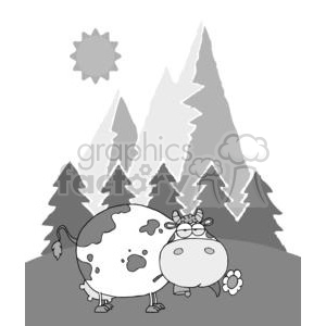 Mountain-Dairy-Cow-With-Flower-In-Mouth clipart. Commercial use image # 379588