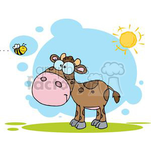 2107-Cute-Little-Cow-Seen-Flying-Bee clipart. Commercial use image # 379593