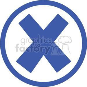 x cross crossed error oops cancel stop close circle round circled icon vector blue