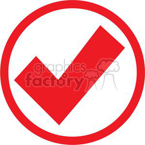 check mark approved passed circle round circled icon vector red