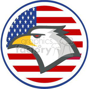 American Eagle in front of USA flag in a circle clipart. Commercial use image # 379639