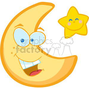Smiling crescent moon and smiling star clipart. Commercial use image # 379654