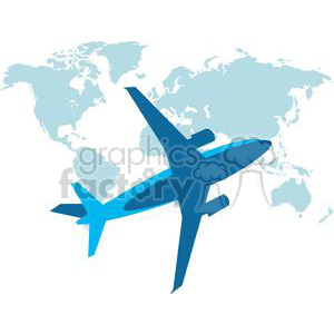Airplane in front of the world clipart. Commercial use image # 379659