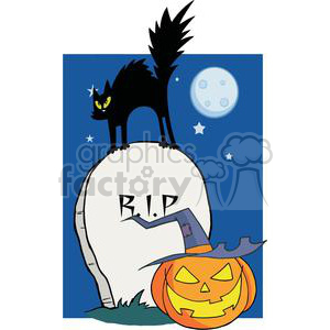 Black cat on a gravestone with a jack-o-lantern in front at night with moon and stars clipart. Royalty-free image # 379684