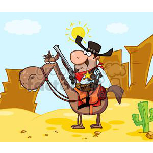 Sheriff with gun on horse in front of a western landscape clipart. Royalty-free image # 379689