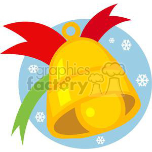 Christmas bell in front of blue circle with snowflakes clipart. Commercial use image # 379709