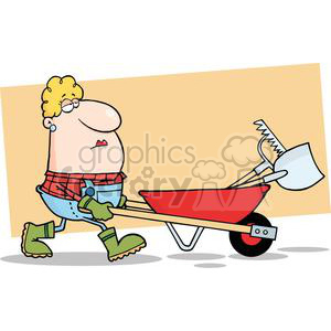 Woman pushing wheel barrow full of tools clipart. Royalty-free image # 379714