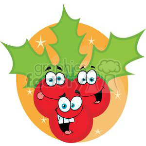 Group of smiling Christmas Hollies clipart. Royalty-free image # 379729