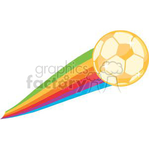 Gold soccer ball with rainbow tail clipart. Commercial use image # 379734