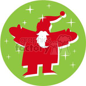 Santa Claus in front of a green circle clipart. Royalty-free image # 379739