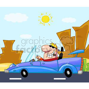 Man driving a blue race car in the desert clipart. Royalty-free image # 379744