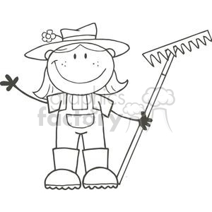 2506-Royalty-Free-Stick-Figure-Gardening-Girl-Waving-A-Greeting
