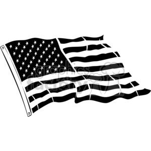 Black and white United States flag