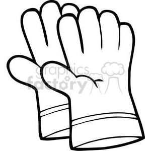 black and white gardening gloves clipart. Commercial use image # 379789