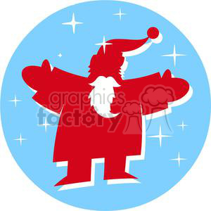 2351-Royalty-Free-Santa-Claus-In-Blue-Circle clipart. Royalty-free image # 379804