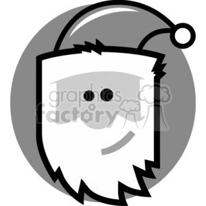 Santa Claus head in front of a grey circle clipart. Commercial use image # 379809