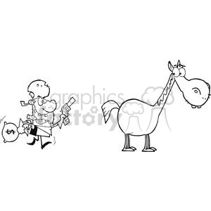 Outlaw with money bag and gun escaping to his horse clipart. Commercial use image # 379829
