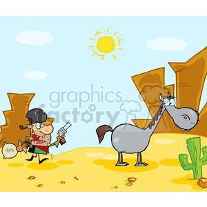 2706-Outlaw-Cowboy-Escapes-To-His-Horse clipart. Royalty-free image # 379849