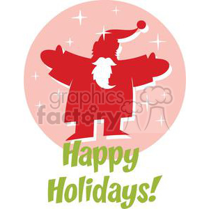 Happy Holidays Santa in front of a pink circle with stars clipart. Commercial use image # 379879