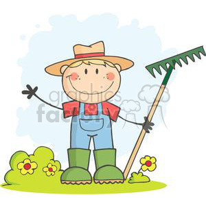Farmer boy with a rake in grass with flowers clipart. Royalty-free image # 379894