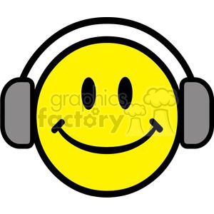 cartoon funny comical vector smiley emoticon smile face Headphones Headphone music listen
