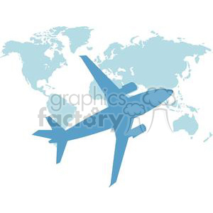 2395-Royalty-Free-Airplane-Flying-Around-The-Earth clipart. Commercial use image # 379964