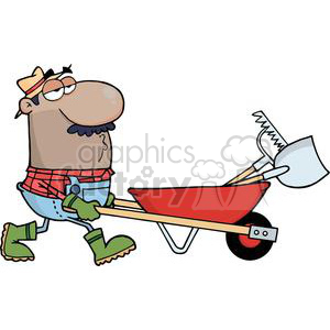 2463-Royalty-Free-African-American-Gardener-Drives-A-Barrow-With-Tools clipart. Commercial use image # 379989
