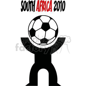 cartoon funny comical vector soccer player playing ball South Africa 2010 ball