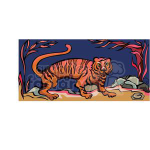 tiger in the night clipart. Royalty-free image # 380031