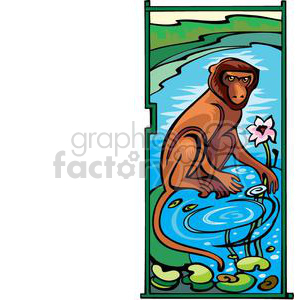 monkey sitting by some water clipart. Commercial use image # 380036