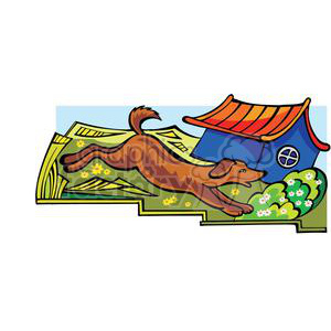 dog running by his doghouse clipart. Royalty-free image # 380041