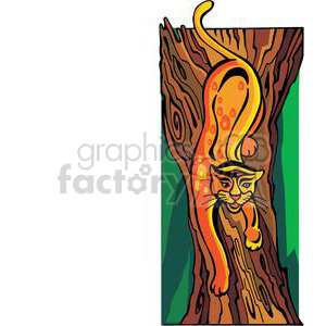 cat climbing down the tree clipart. Royalty-free image # 380046