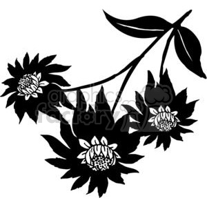 93-flowers-bw clipart. Commercial use image # 380071